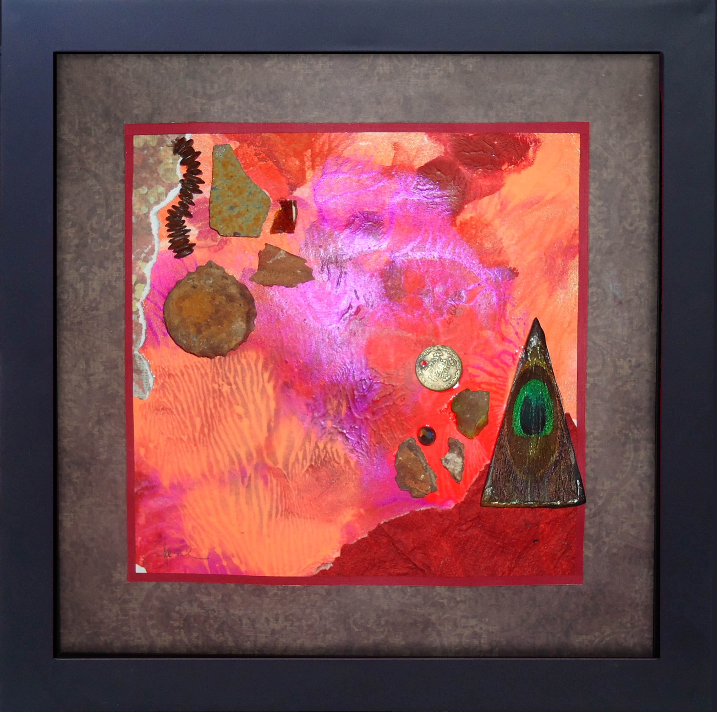 """""""Rustic Pieces of Time"""" framed monoprint, 8""""x8""""  AVAILABLE / $75"""