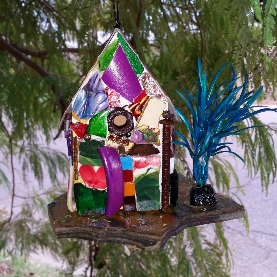 """""""For the Birds""""mosaic bird house made of broken glass, pottery, jewelry & rusty metal with slate shelf, 6"""" tall"""
