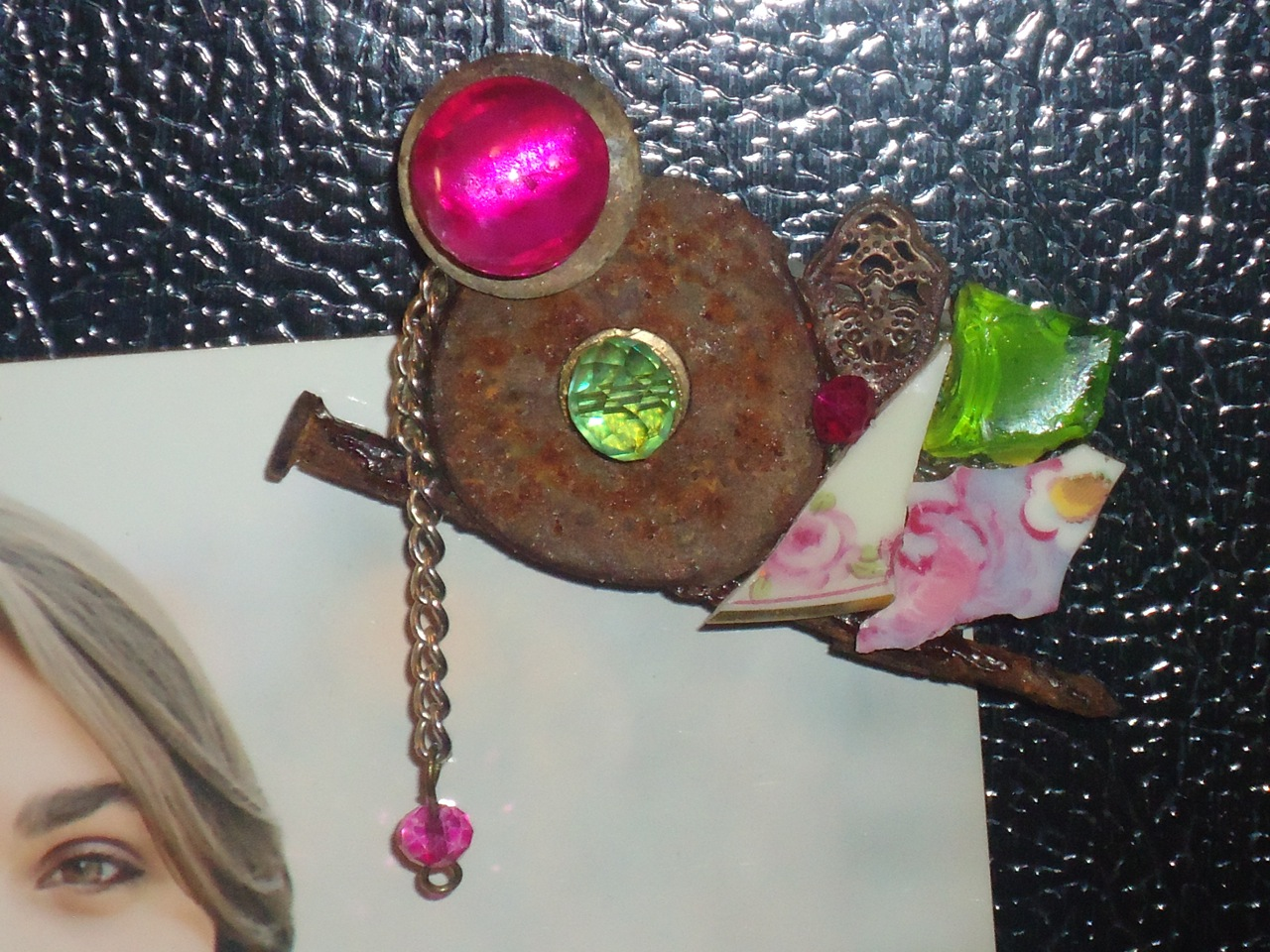 """""""China Roses on a Nail  """"    mixed media   refrigerator  magnet,approx. 2"""" x 3"""""""