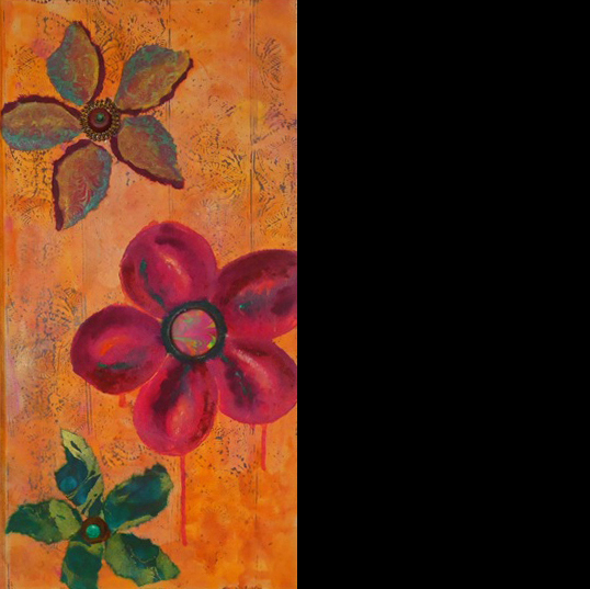 """""""Nothing But Flowers""""(right section of triptych  )mixed   media,  12""""x24"""",24""""x24"""",12""""x24""""    AVAILABLE (sold as set) $795"""