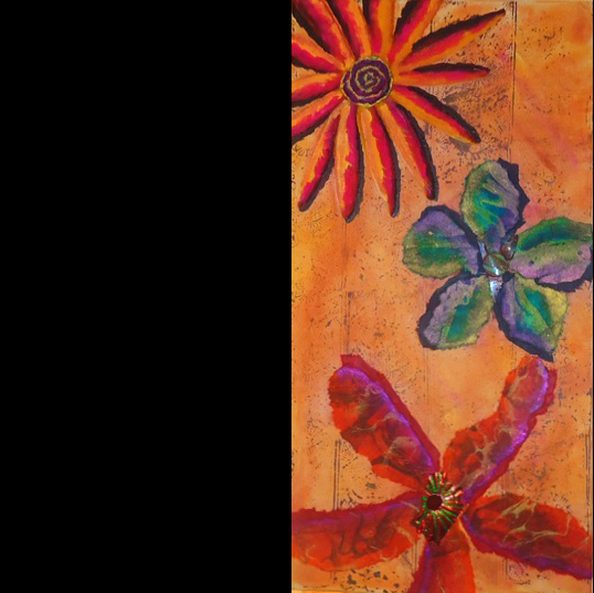 """""""Nothing But Flowers""""(left section of triptych  )mixed   media,  12""""x24"""",24""""x24"""",12""""x24""""    AVAILABLE (sold as set) $795"""