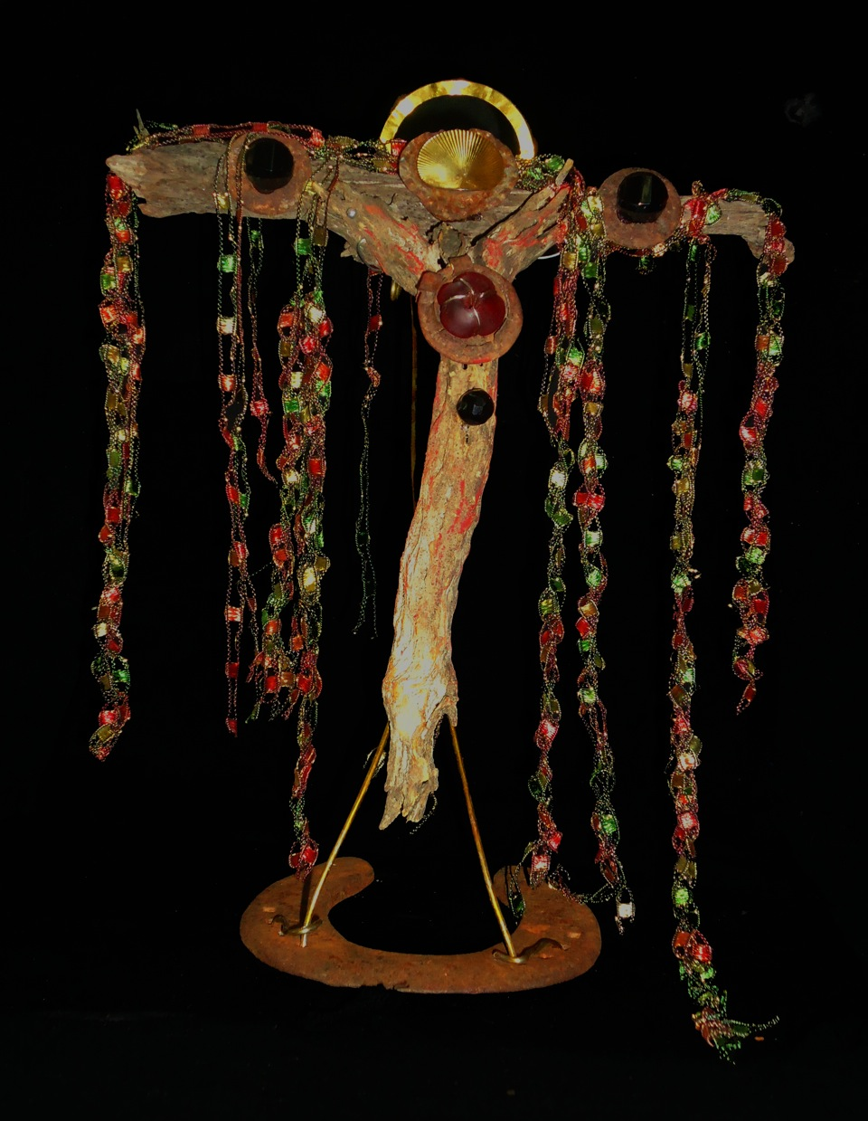 """""""The Weeping Tree"""" on Horseshoe Stand  mixed media, 10.5""""h x 8.5"""" w x 3.25"""" x 5.5""""d"""