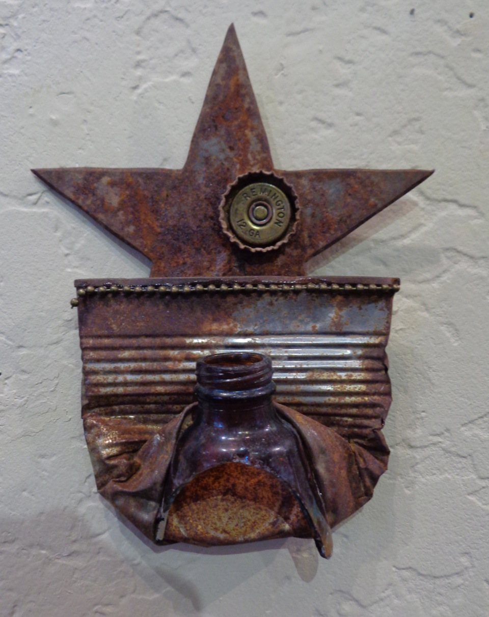 """""""Wild, Wild West"""" mixed media, metal & glass, 10""""h x 10""""w   AVAILABLE / $45"""
