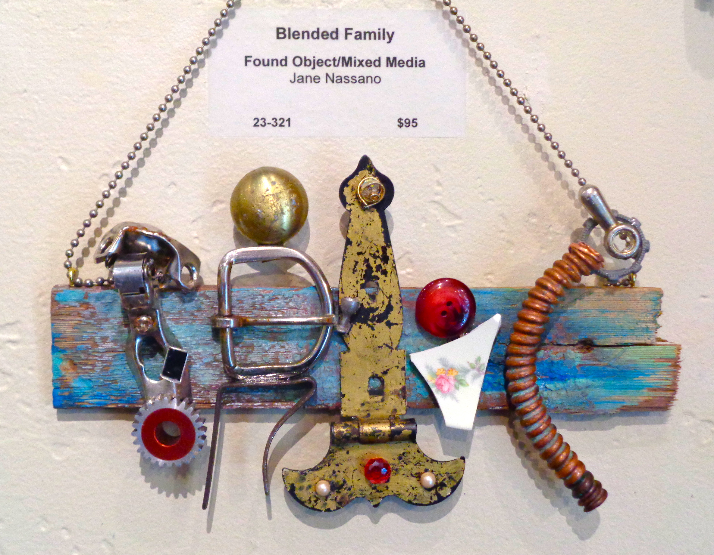 """""""Blended Family"""" mixed media, found object, 10""""h x 5""""w   AVAILABLE / $95"""