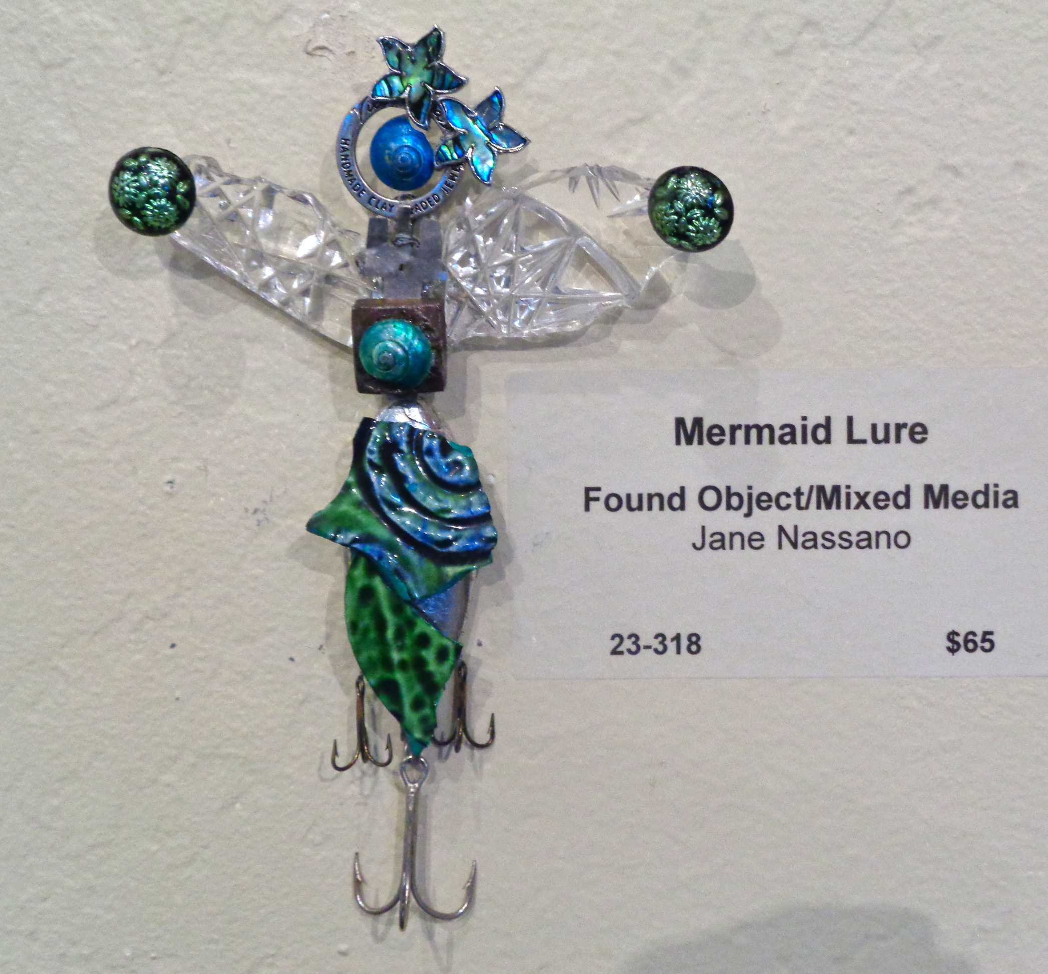 """"""" Mermaid Lure """" mixed media, found object, 6""""h x 4""""w   AVAILABLE / $65"""