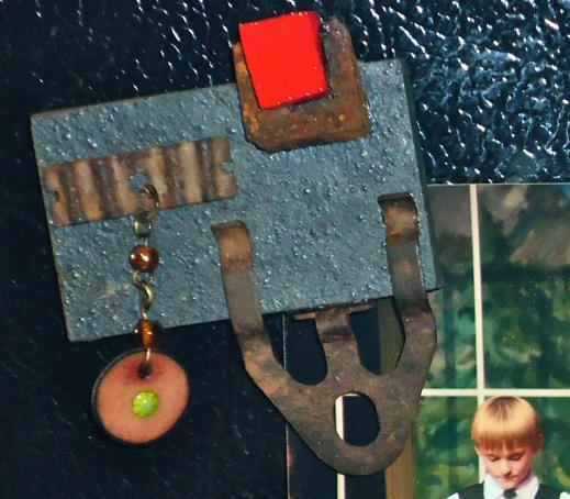 """Rusty Metal on Slate w/ Enamel""  mixed media  refrigerator  magnet,  approx. 2"" x 3"""