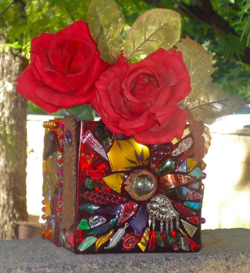 """Red Square Mosaic Vase"" mixed media,5"" square"