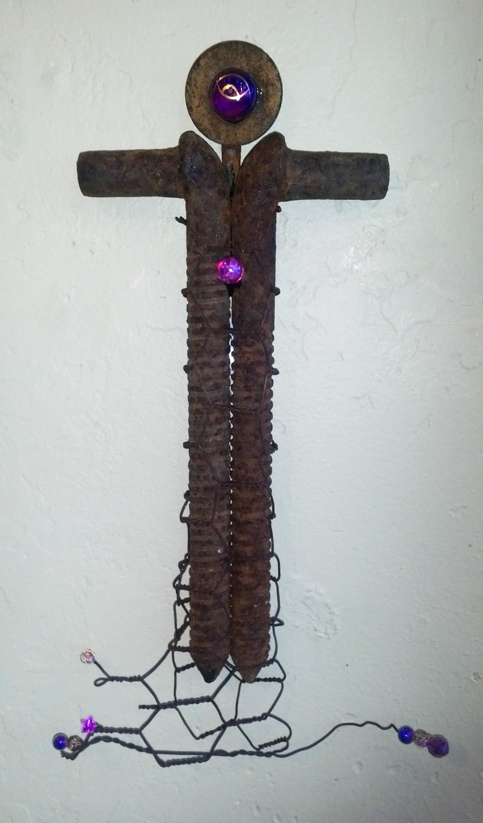 %22 rusty metal cross, Found Objects-Mixed media, $85 www. JaneNassanoFineArt.com.jpeg