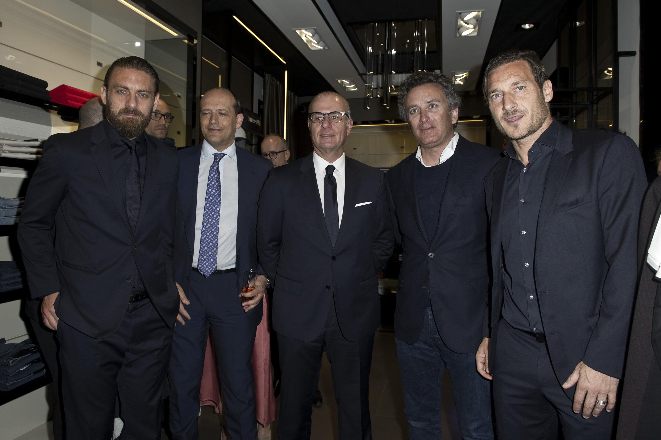 Daniele De Rossi; Mauro Baldissoni; Umberto Gandini; Alejandro Agag; Francesco Totti.jpg