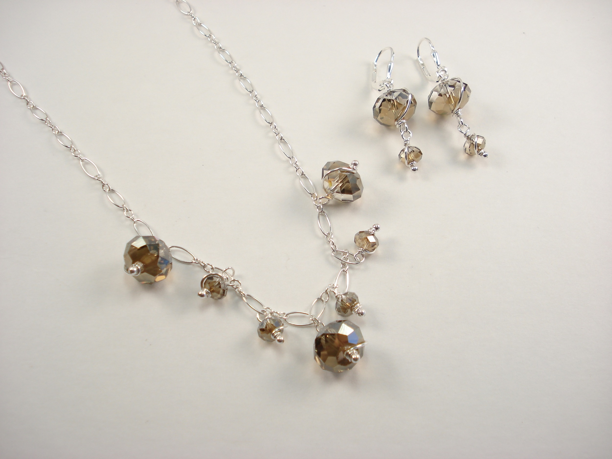 Vivian Necklace and Earring Set - Swarovski crystal and sterling silver.