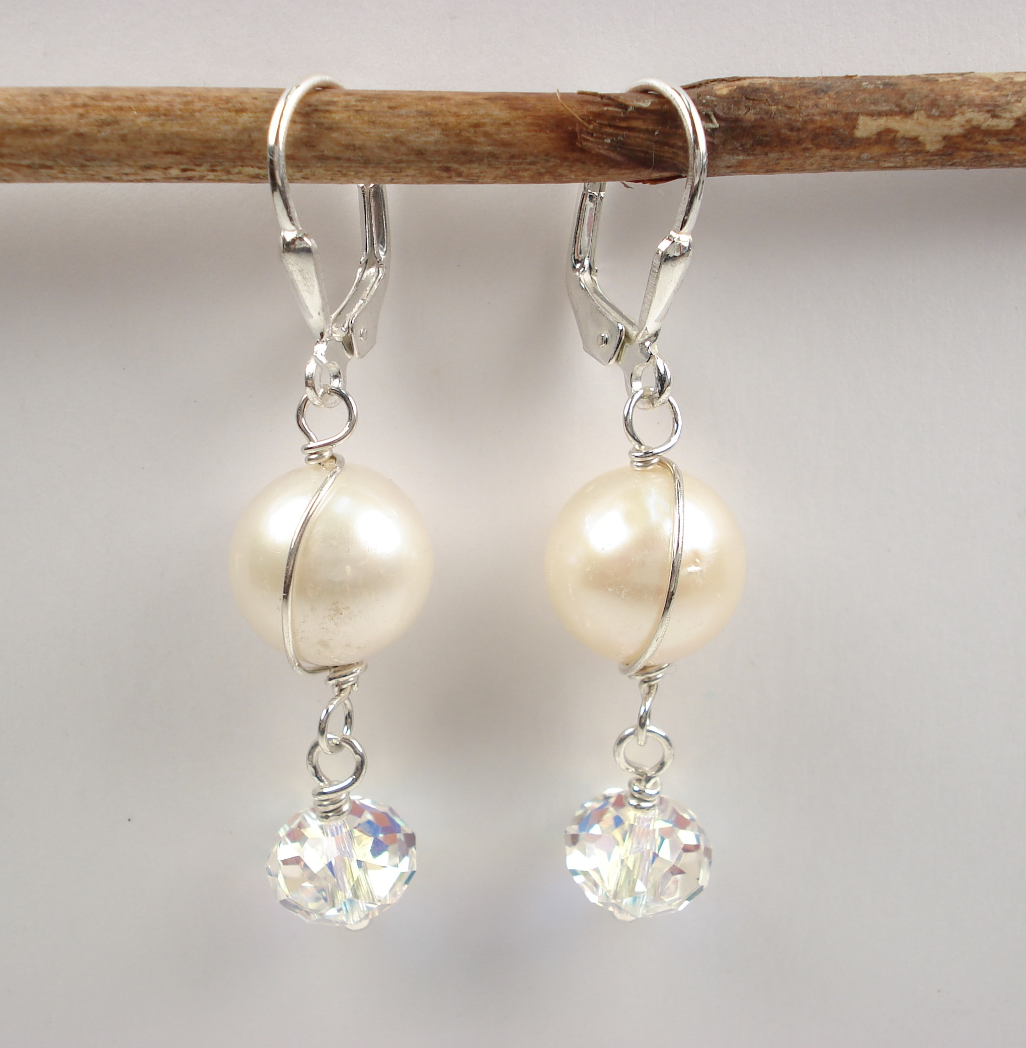 Jessica Earring - Fresh water pearl, Swarovski crystal and sterling silver.