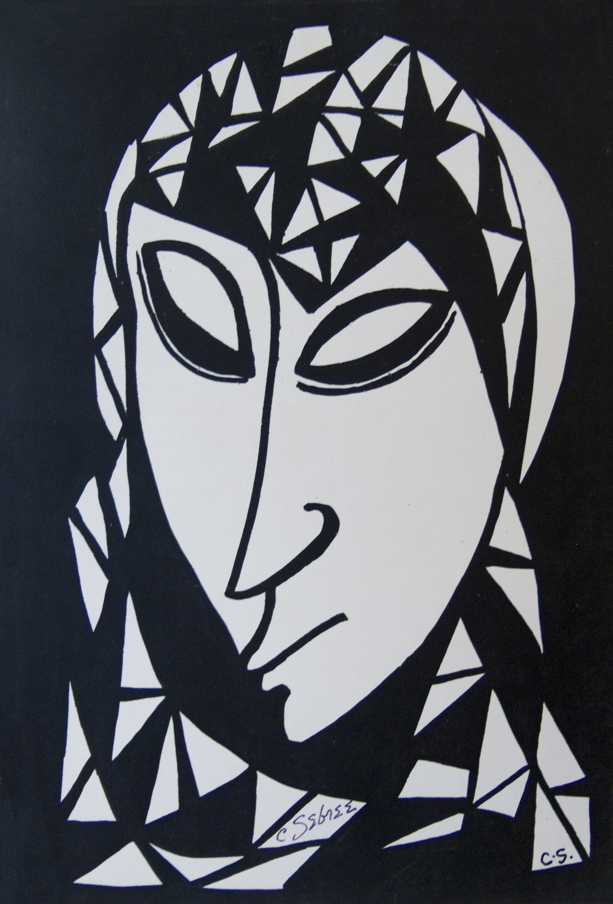 Untitled (Head of a Woman in a Geometric Scarf)