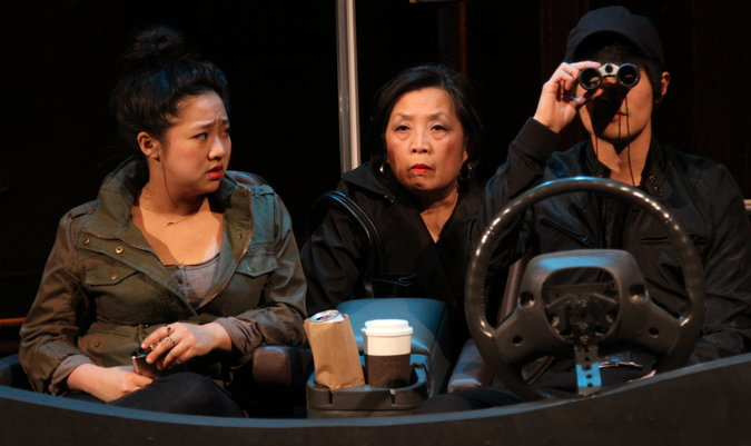 FAST COMPANY   From left,   Stephanie Hsu  ,   Mia Katigbak  , and   Christopher Larkin   in this   Carla Ching   comedy about grifters, at the   Ensemble Studio Theater   in Hell's Kitchen.   Gerry Goodstein  , Photographer.
