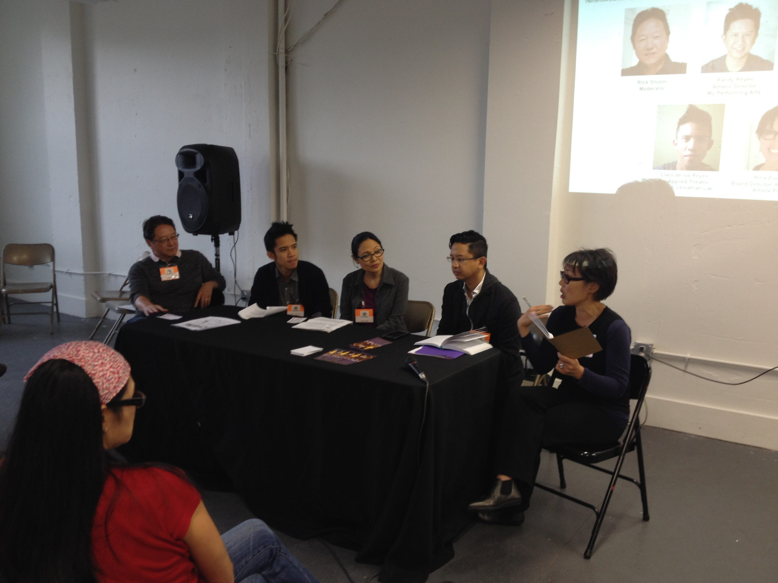 Rainbow Connections: Creating Programs for Asian American Youth Panel at the CAATA National Asian American Theater Conference & Festival (L to R): Rick Shiomi, Leviathan Lab's Claro de los Reyes & Lydia Gaston; Mu Performing Arts' Artistic Director Randy Reyes, and National Asian Artists' Project Nina Zoie Lam.