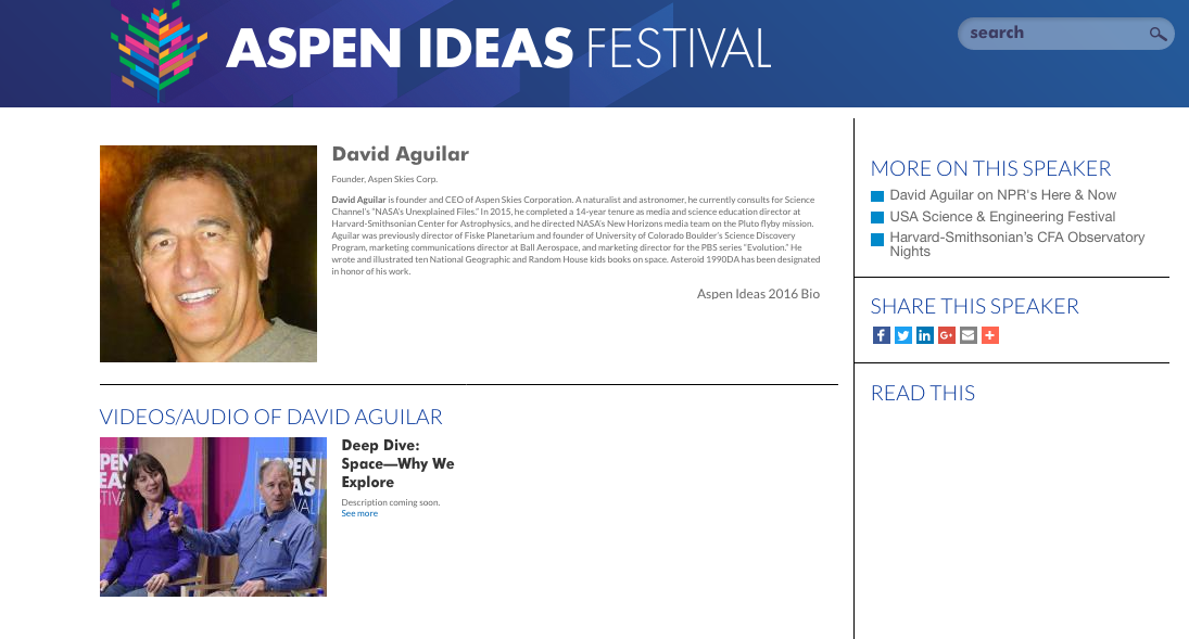 "The Aspen Ideas Festival brought together astronomy experts to discuss ""Space - Why We Explore"". David kicks off this ""deep dive"" look to the stars.  https://www.aspenideas.org/speaker/david-aguilar"