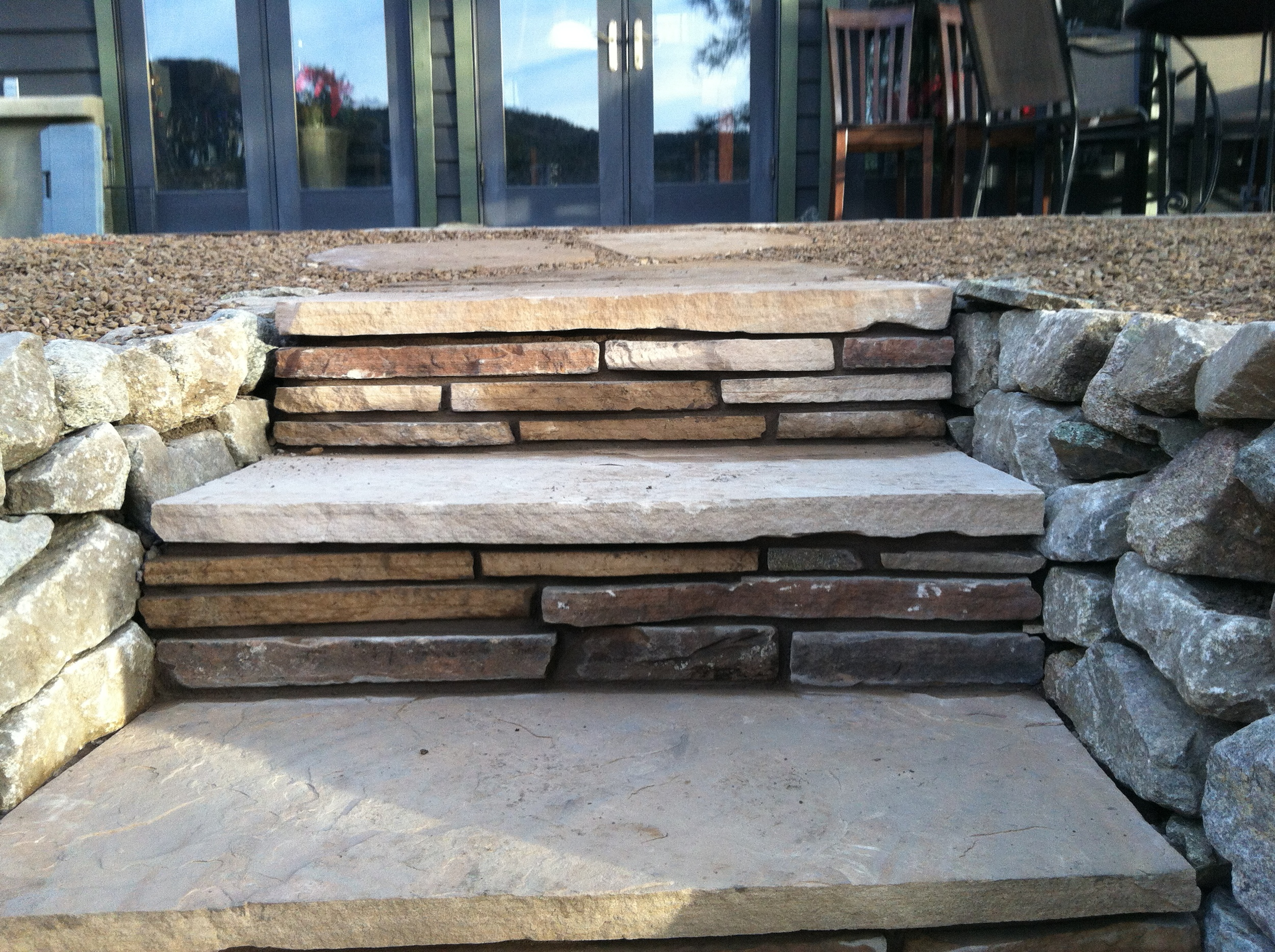 Flagstone steps with flagstone risers.