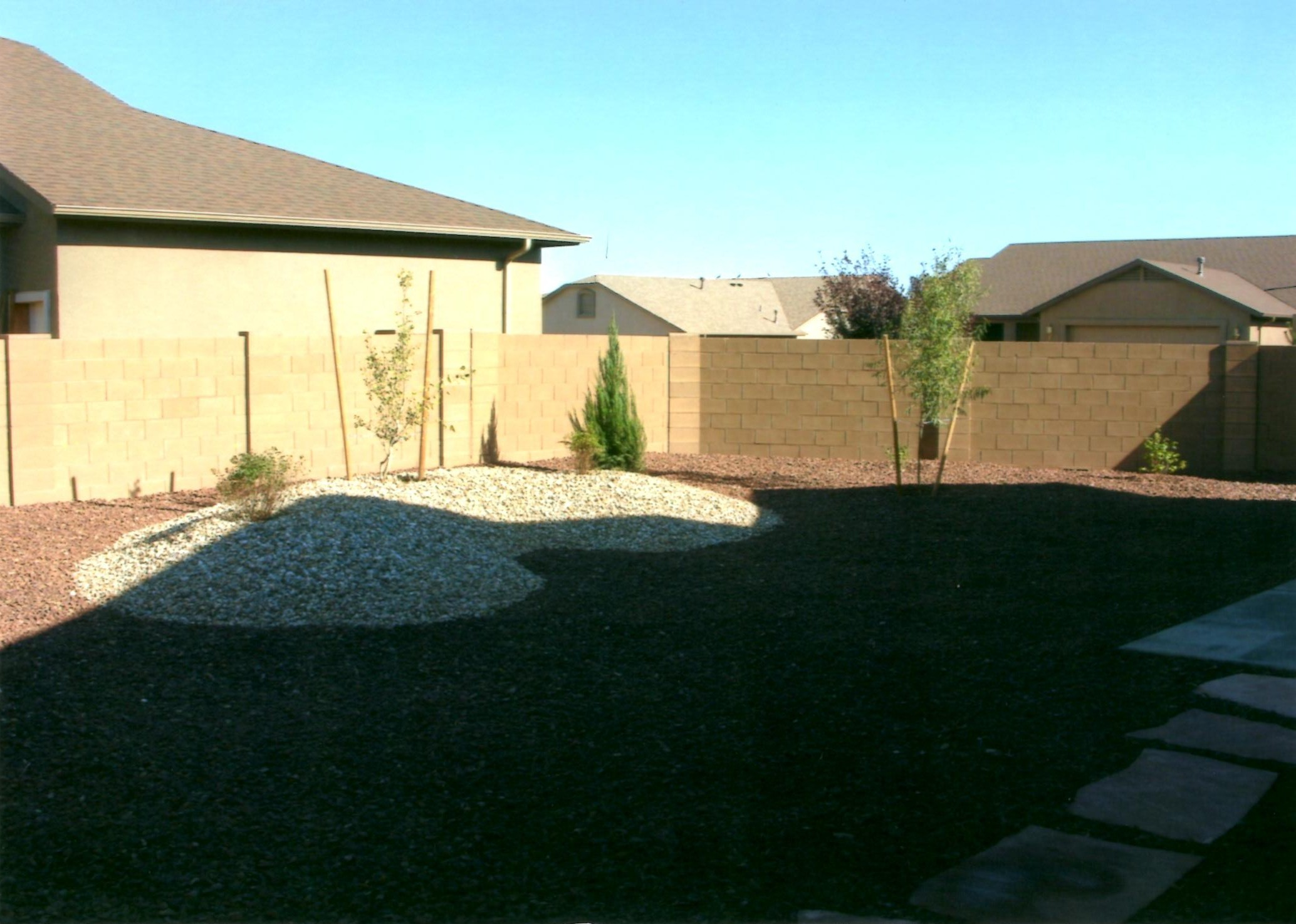 Simple, affordable backyard, that looks great!  Two gravel tones, set off with a kidney shaped mound with plants and aspen tree.