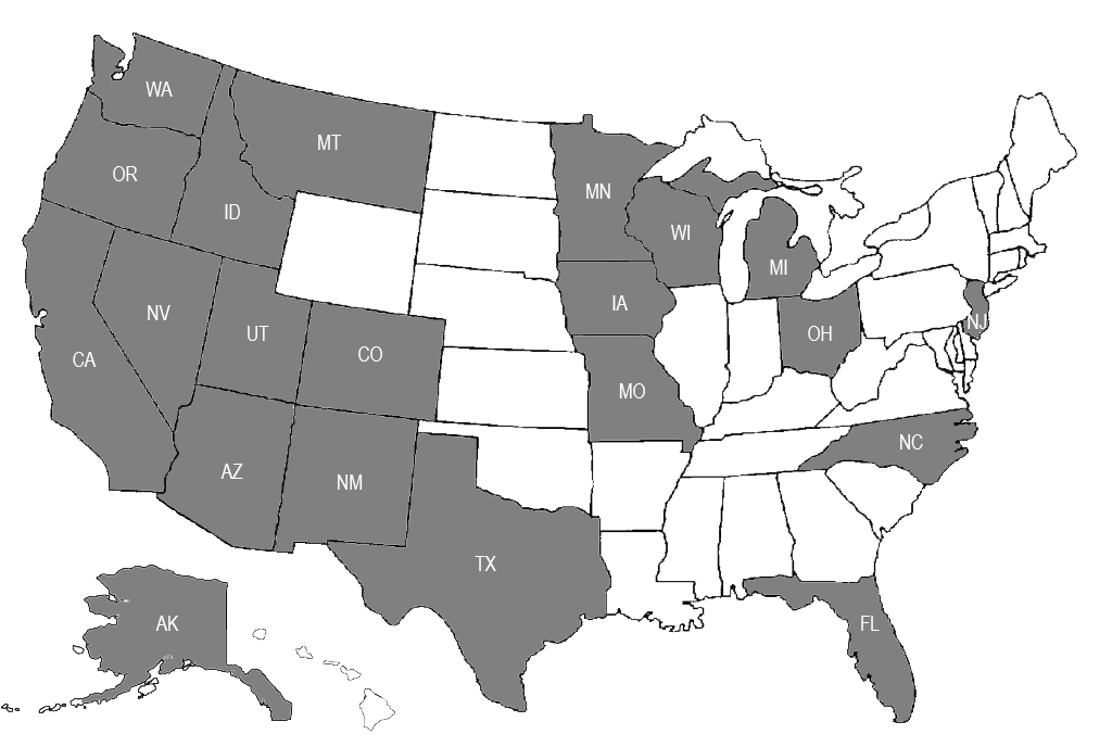 STATES WHERE WE ARE LICENSED