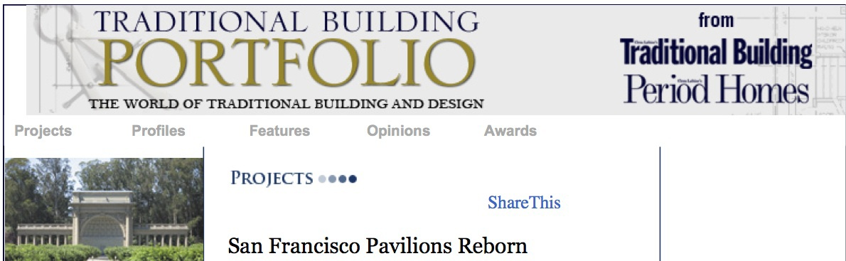 Traditional Building magazine article about Spreckels Temple of Music Restoration