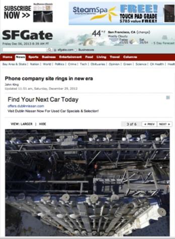 Phone company site rings in new era. John King, San Francisco Chronicle, December 29, 2012