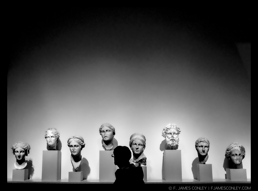 A museum visitor examines a row of busts.