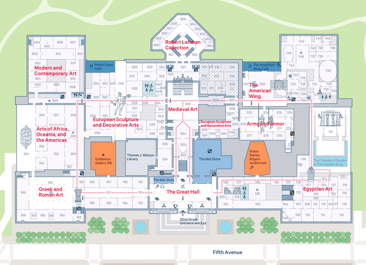 Collections map  of the Metropolitan Museum of Art.