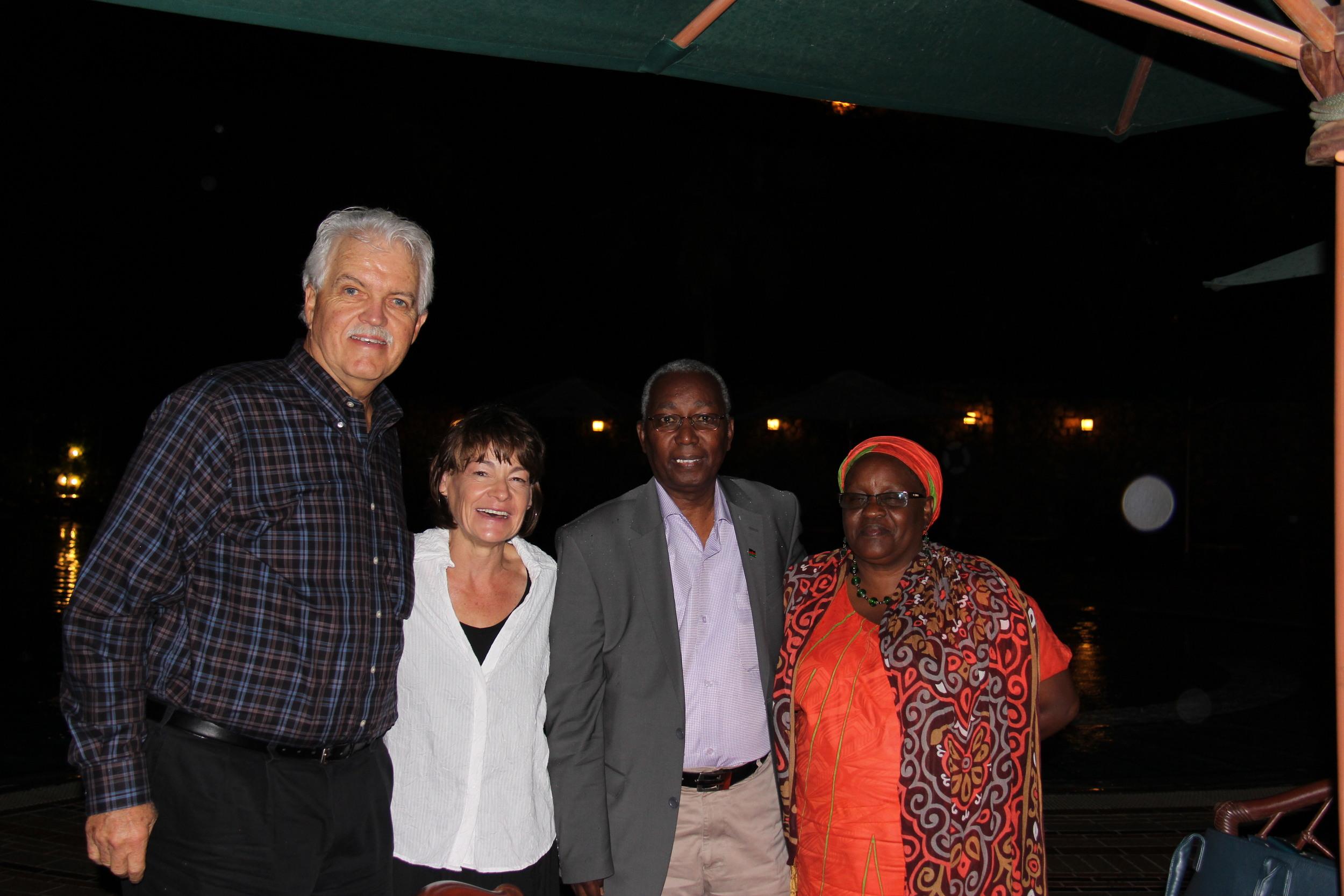 From l-r: Rev. Dr. Doug Millham (Discover the World), Melinda Lehman,    Mr. Bernard Waweru (Chairmen of Shelter Children's Center Board), Mary Muriuri (Director, Shelter Children's Center)