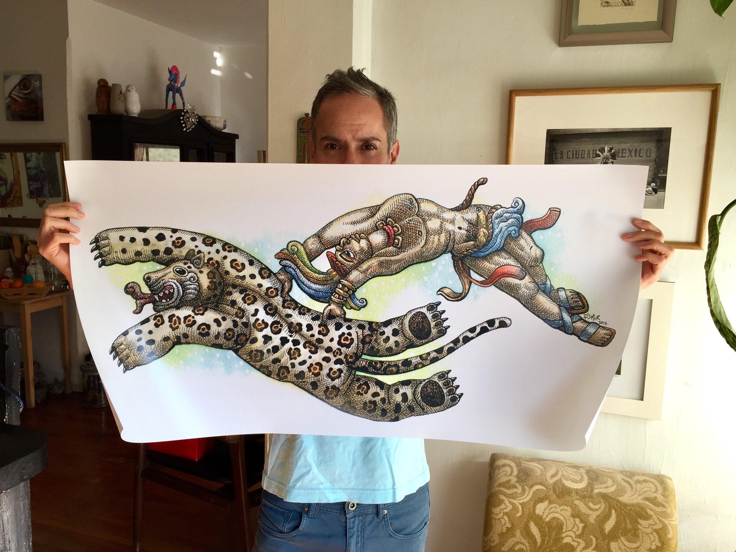 """Jaguar con Hombre Maya"" reproducciones a gran escala del original. A la venta."