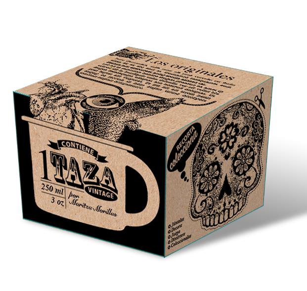 Caja para taza de peltre