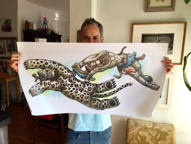 """""""Jaguar con Hombre Maya"""""""