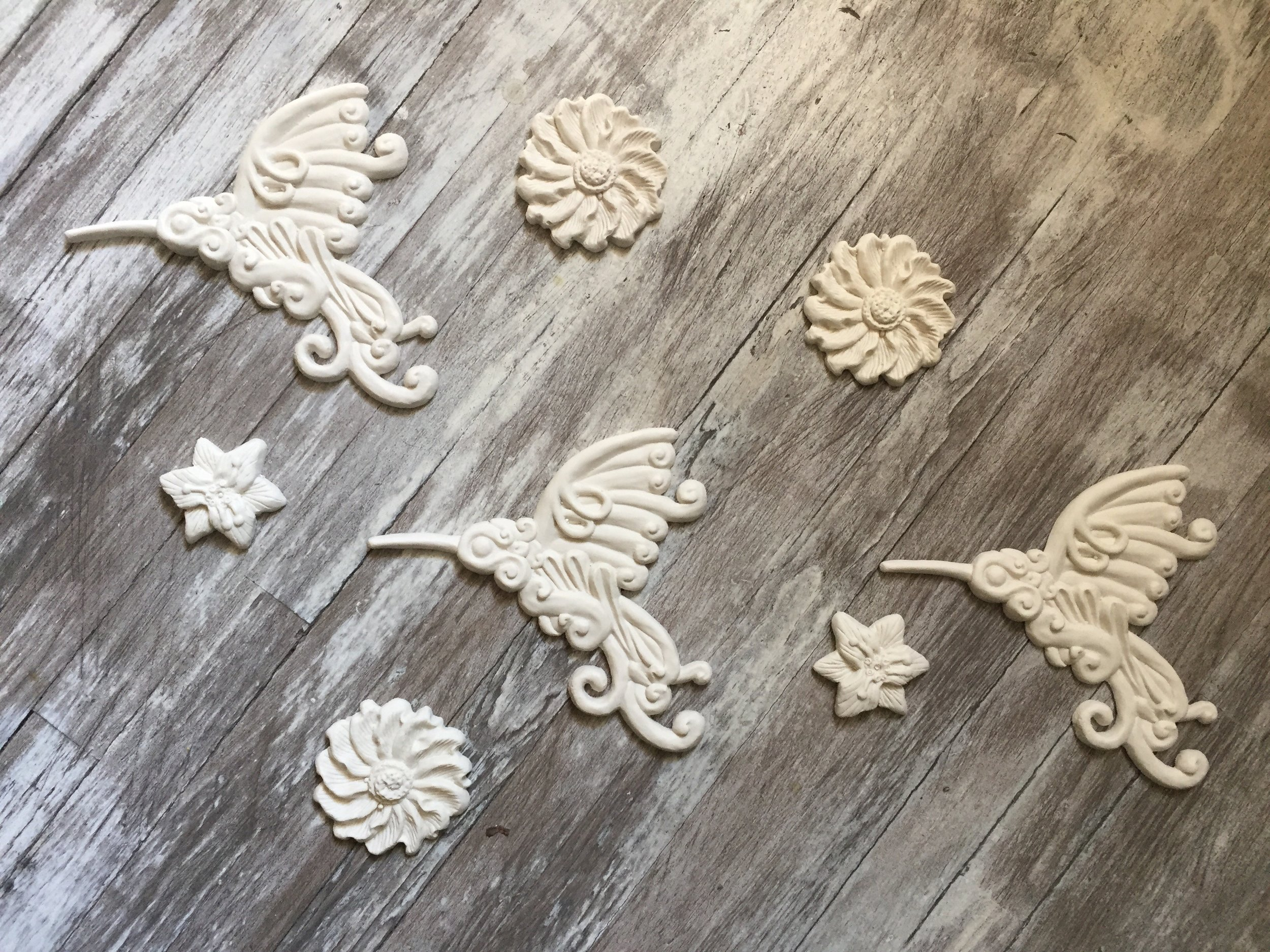 Colibrí y flores 3D