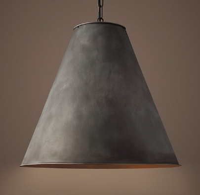 This beautiful antique metal pendant from Restoration Hardware is a great choice for an industrial look.
