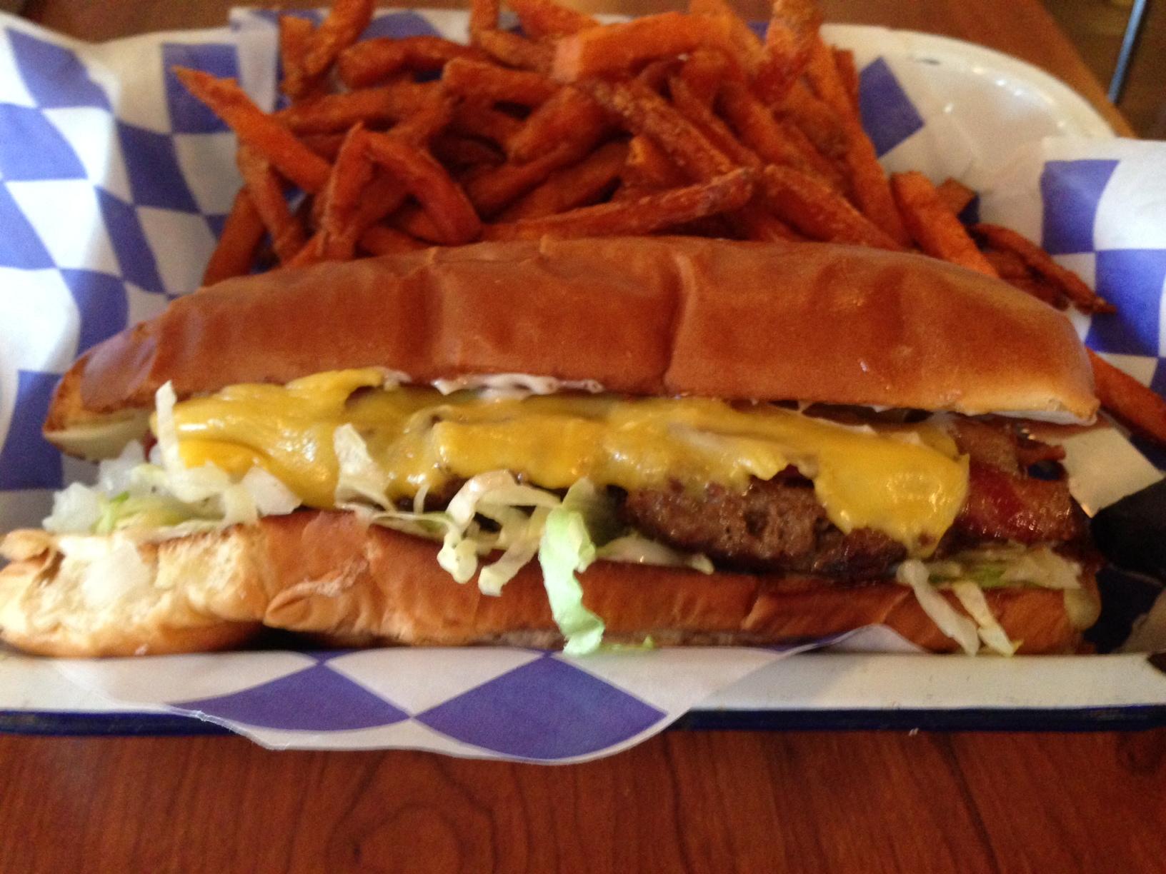 "The Rectangular ""Hoagie"" Burger at Mia's"