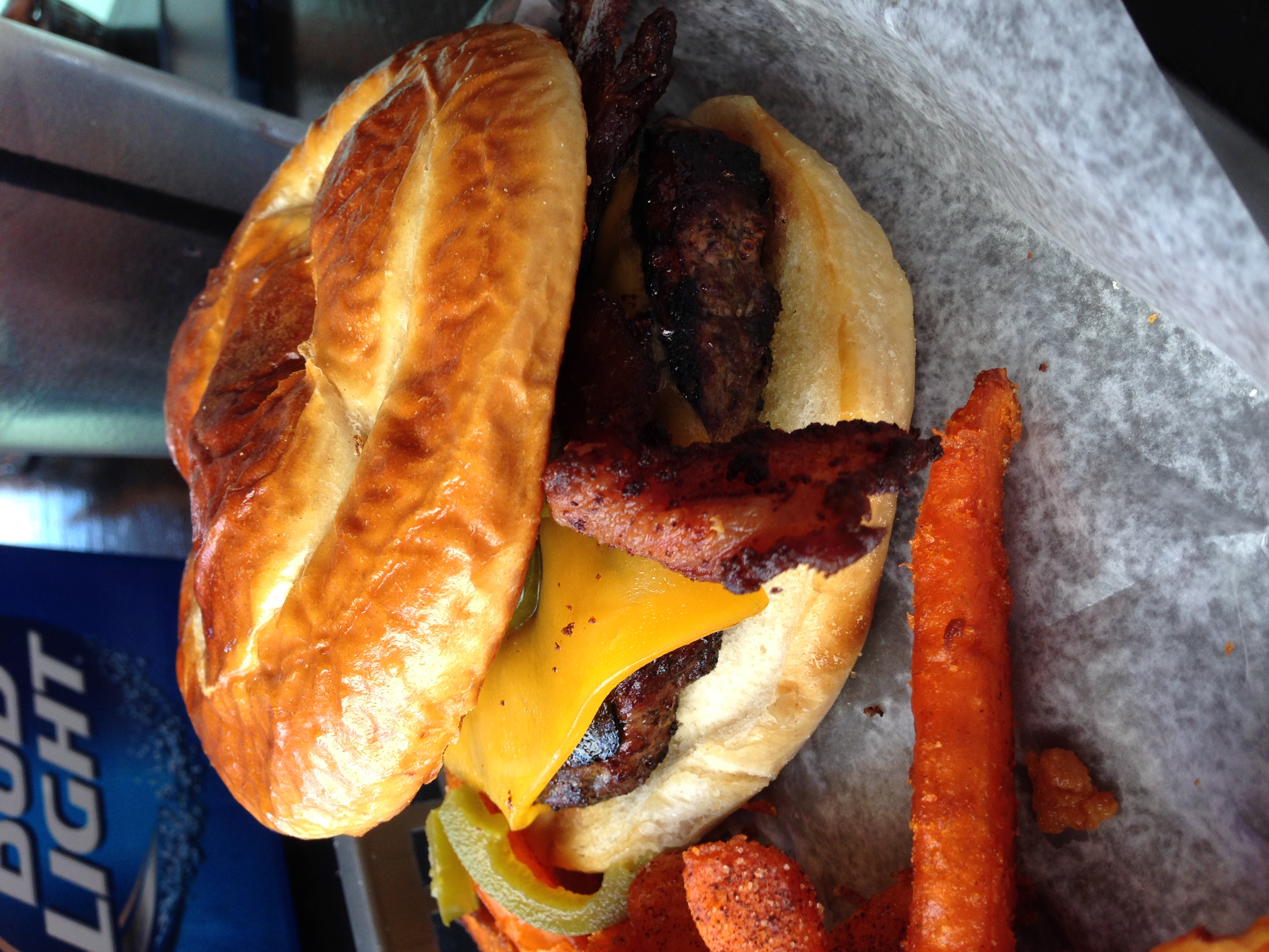 "Look at that (pretzel) bun! - The ""Red Adair"" fire-hot burger at The Refinery Burgers & Whiskey"