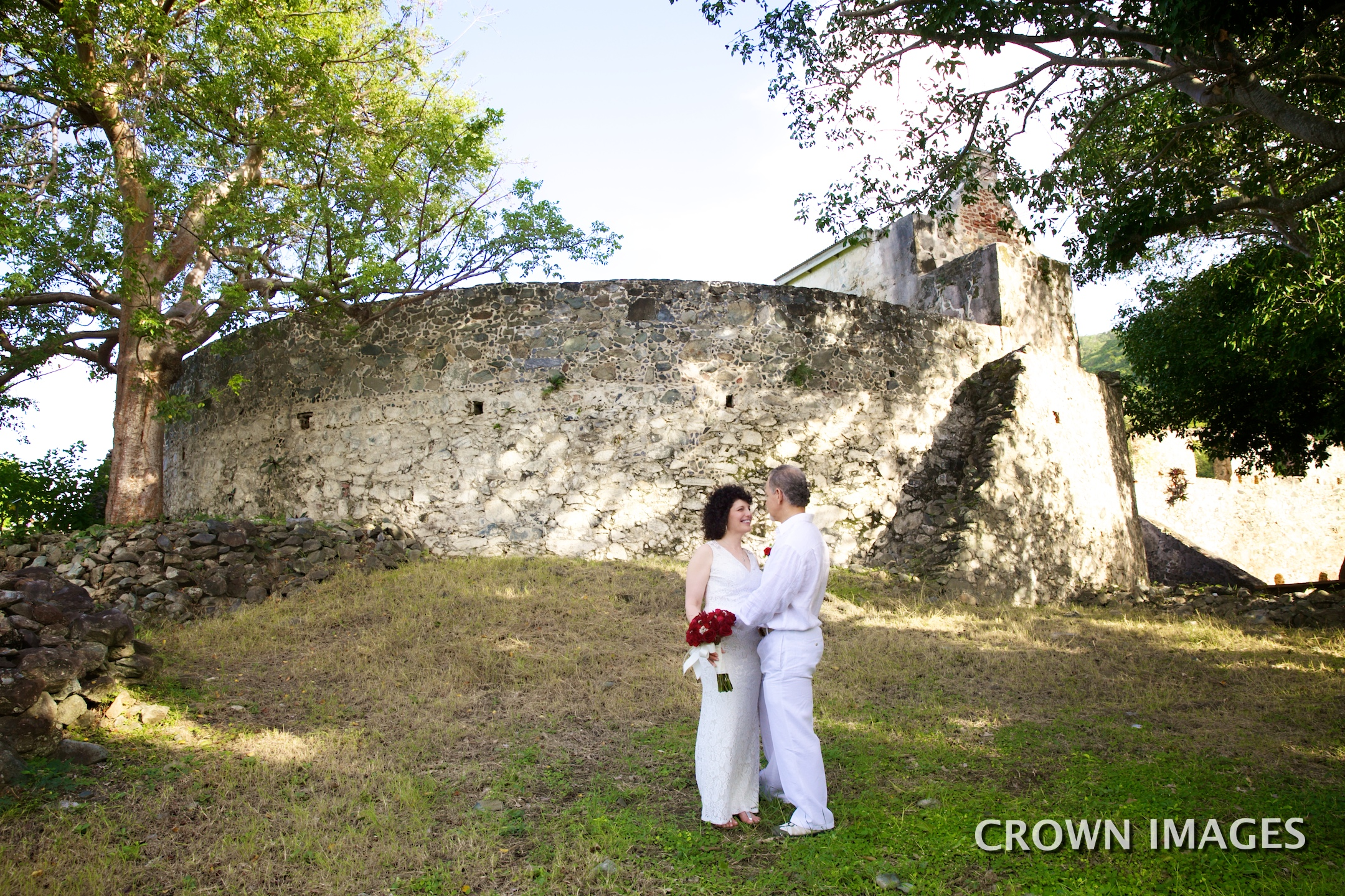 wedding in the stone ruins on st john
