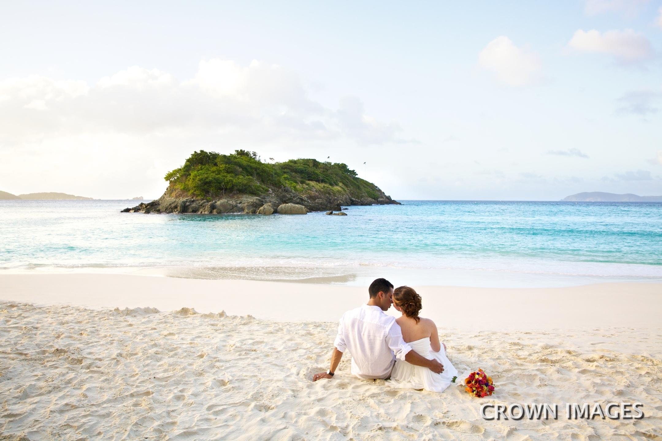 sunset wedding on st john beach