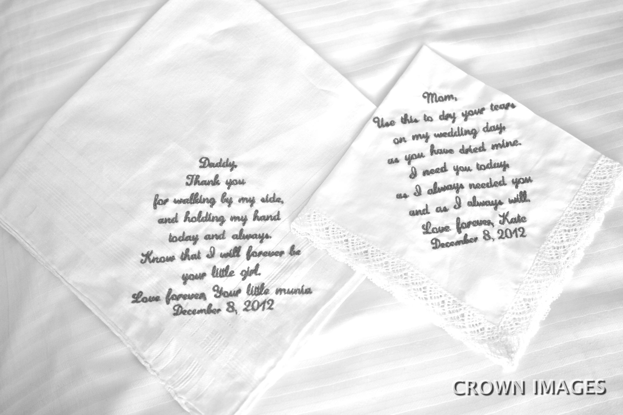 embroidered wedding handkerchief for parents