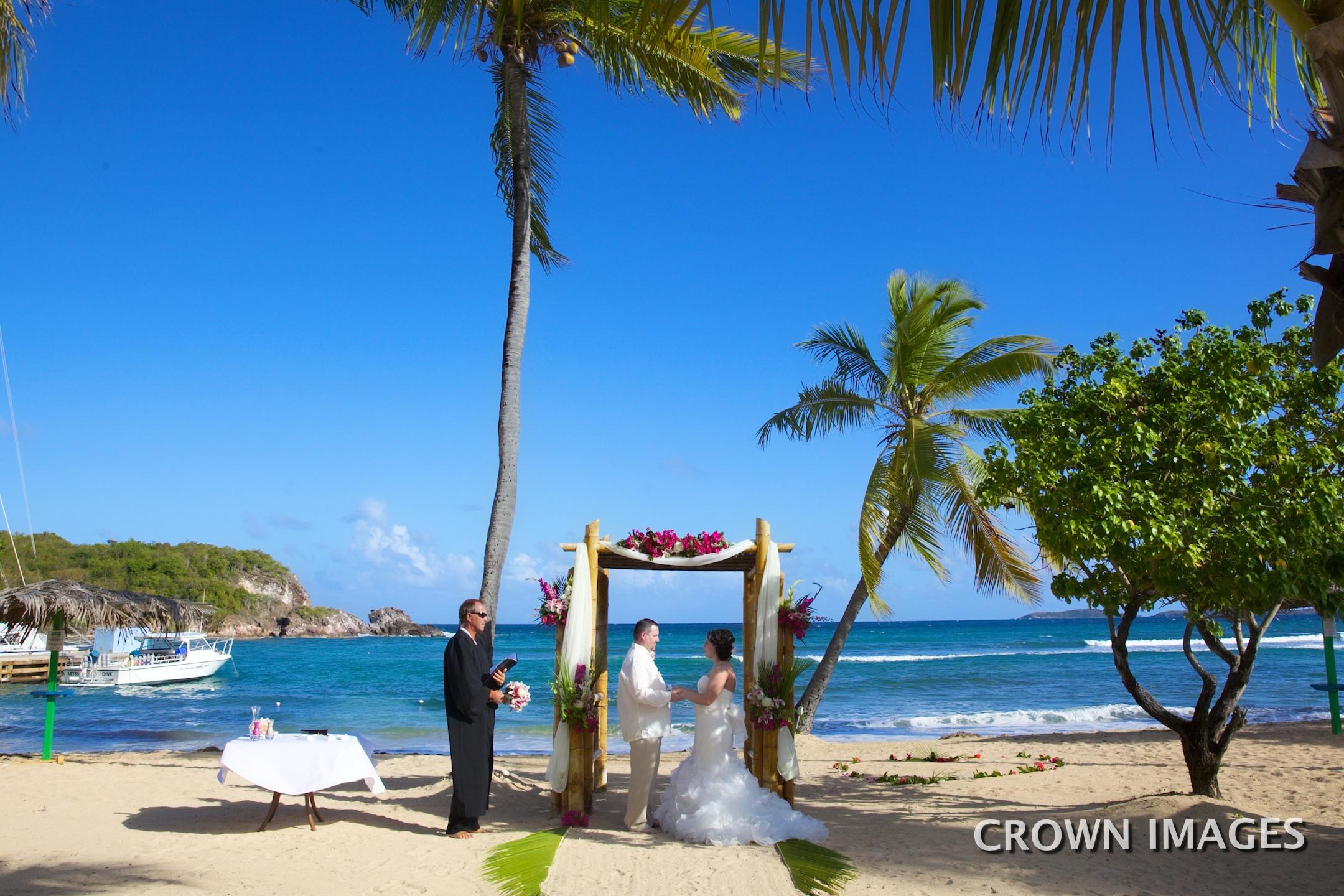 oblong bay beach wedding set up