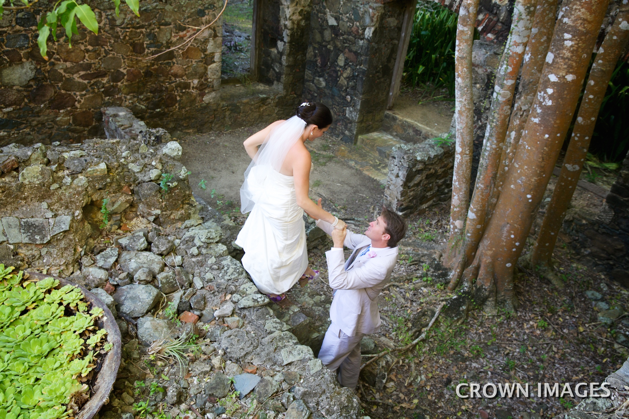 stone ruins on st thomas for wedding photos