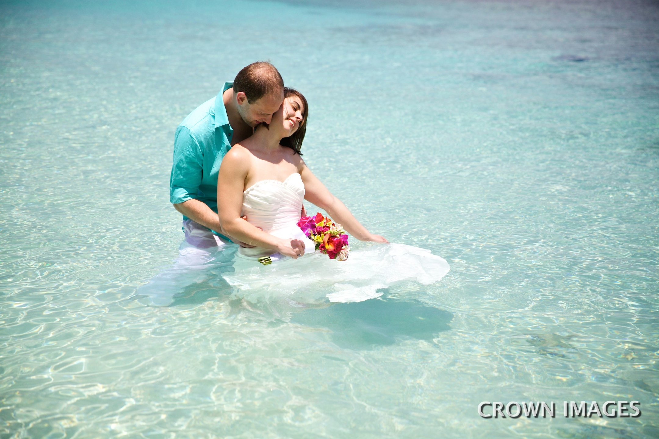 wedding photos in the ocean on st john