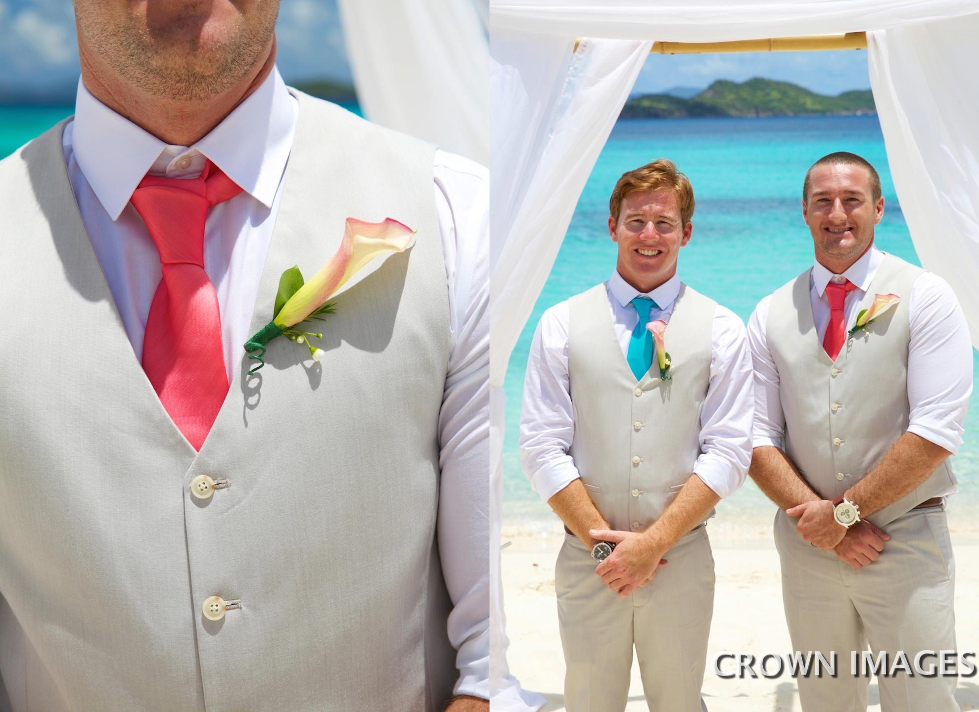 groom at a beach wedding on st thomas