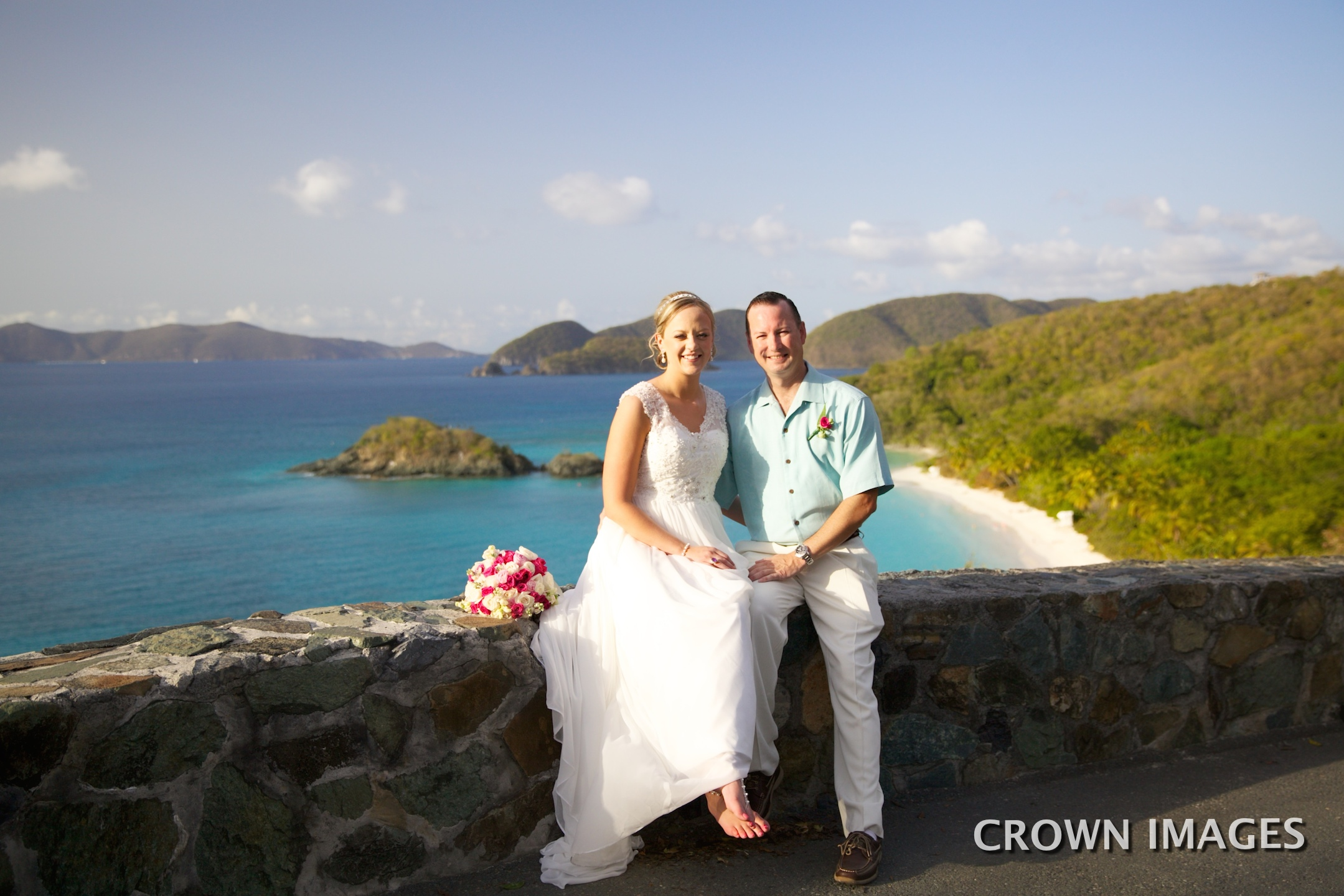 wedding at trunk bay overlook st john crown images