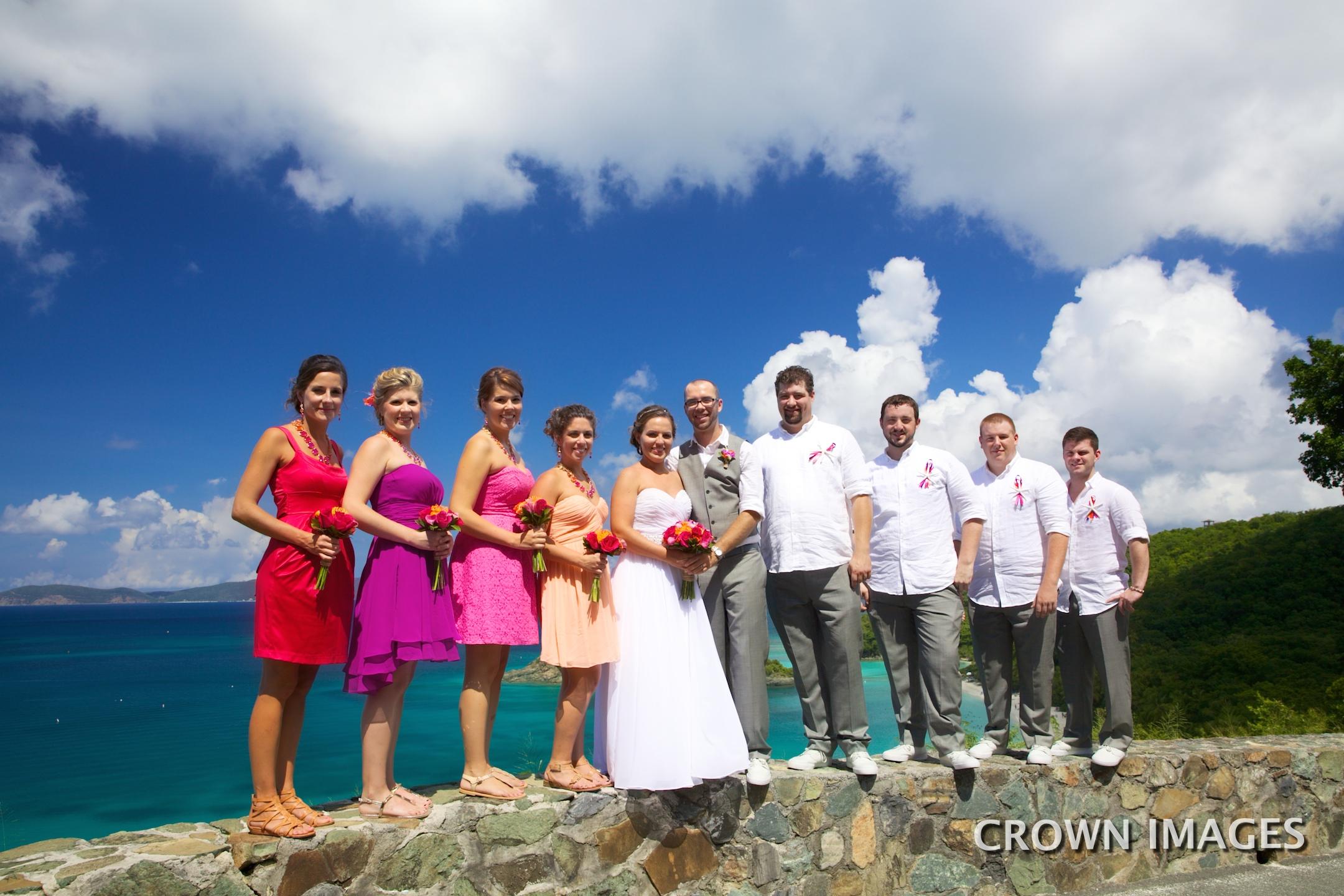 wedding party photos on st john