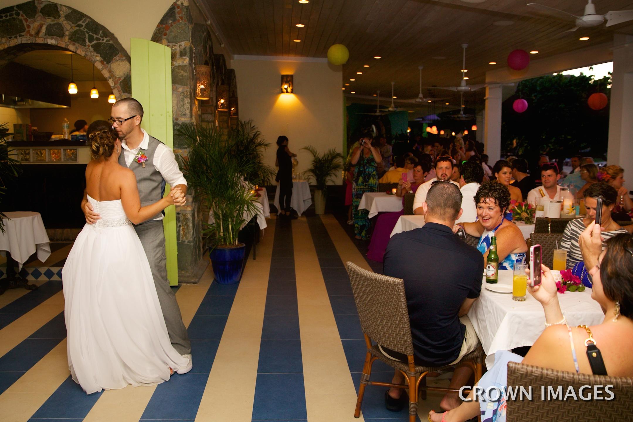 first dance on st john at wedding reception