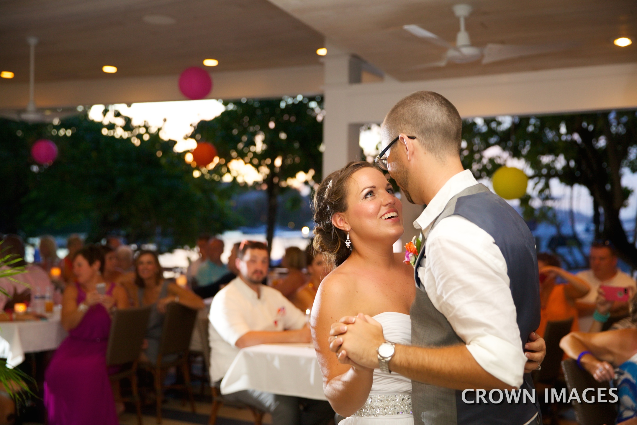 bride and groom dancing at wedding reception on st john