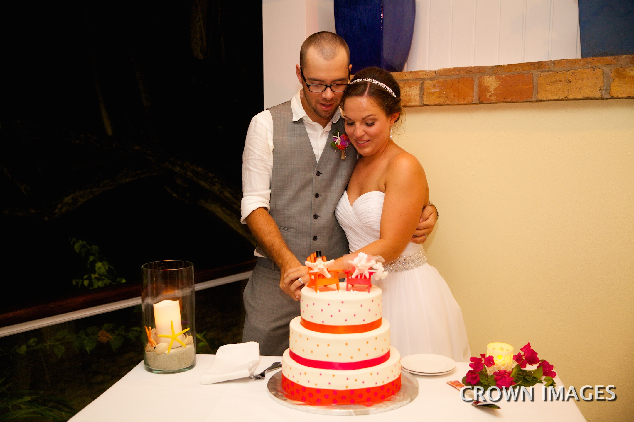 cake cutting at a wedding on st john