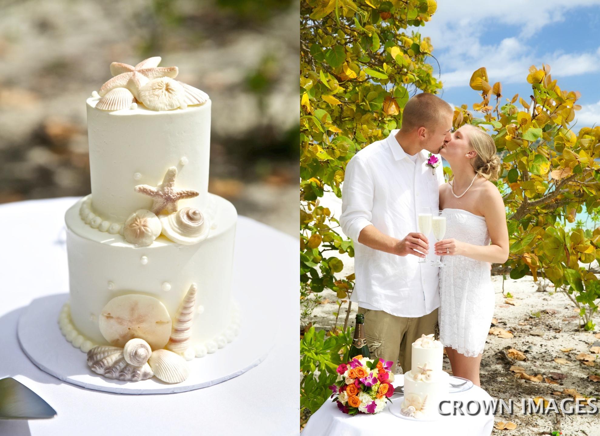 wedding cake on the beach in the us virgin islands
