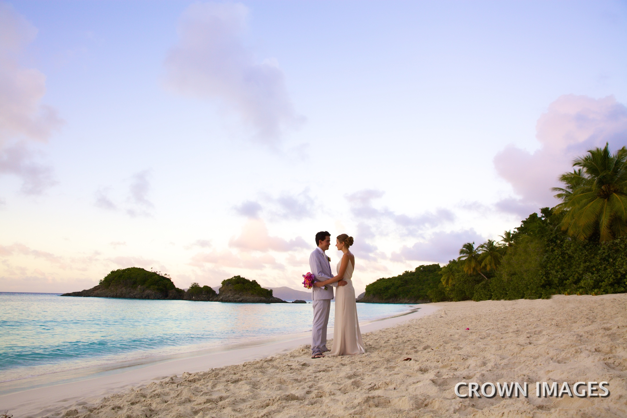 sunset wedding photos on st john by crown images