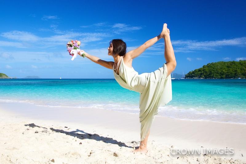 yoga at a beach wedding in the virgin islands