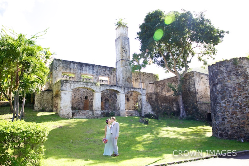 wedding in the old stone ruins on st john